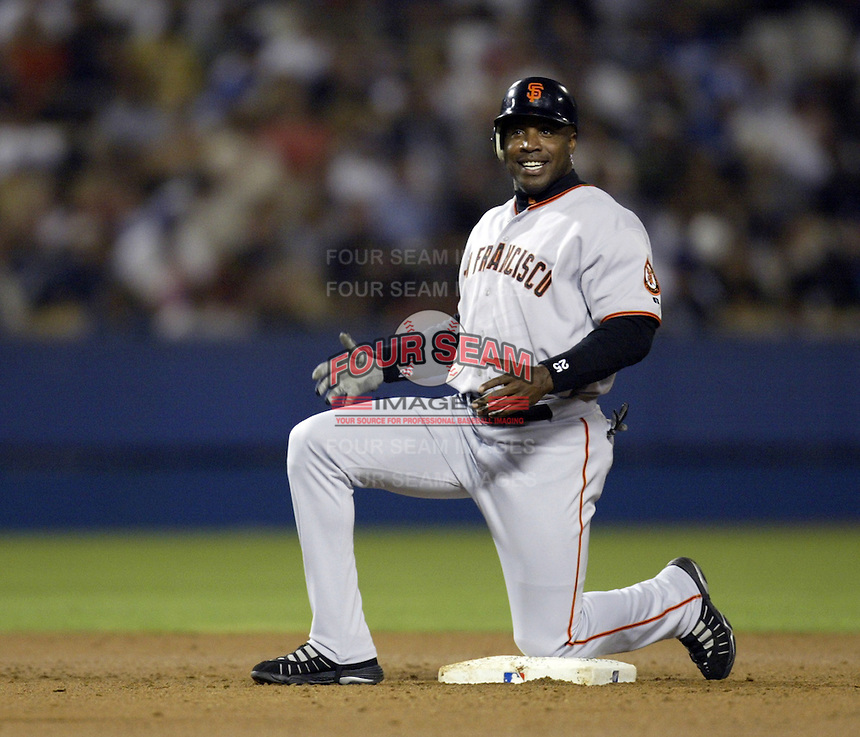 Barry Bonds of the San Francisco Giants during a 2002 MLB season game against the Los Angeles Dodgers at Dodger Stadium, in Los Angeles, California. (Larry Goren/Four Seam Images)