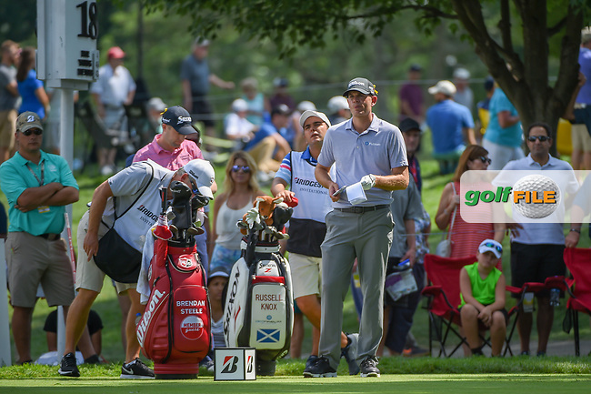 Brendan Steele (USA) looks over his tee shot on 18 during 2nd round of the World Golf Championships - Bridgestone Invitational, at the Firestone Country Club, Akron, Ohio. 8/3/2018.<br /> Picture: Golffile | Ken Murray<br /> <br /> <br /> All photo usage must carry mandatory copyright credit (© Golffile | Ken Murray)