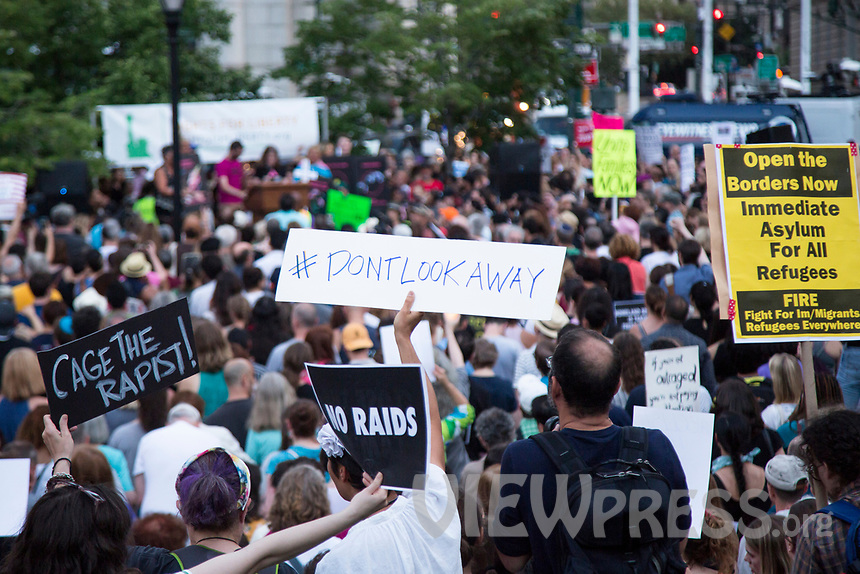 """NEW YORK, NY - JULY 12: Hundreds of people gather in lower Manhattan for a """"Lights for Liberty"""" protest against immigrant detention camps and the imminent Immigration raids by ICE on July 12, 2019. New York. (Photo by Pablo Monsalve/VIEWpress)"""