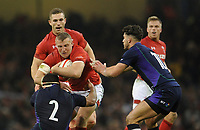 Wales' Hadleigh Parkes is tackled by Scotland's Stuart McInally<br /> <br /> Photographer Ian Cook/CameraSport<br /> <br /> Under Armour Series Autumn Internationals - Wales v Scotland - Saturday 3rd November 2018 - Principality Stadium - Cardiff<br /> <br /> World Copyright &copy; 2018 CameraSport. All rights reserved. 43 Linden Ave. Countesthorpe. Leicester. England. LE8 5PG - Tel: +44 (0) 116 277 4147 - admin@camerasport.com - www.camerasport.com