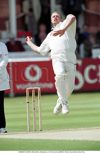 ANDREW FLINTOFF, ENGLAND v Zimbabwe, 1st Test, Lords, 000518. Photo: Glyn Kirk/Action Plus...2000.Bowler.bowling.cricket