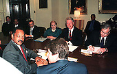 Washington, DC - May 3, 1999 -- The Reverend Jesse Jackson (left) meets United States President Bill Clinton following his successful trip to Belgrade, Yugoslavia where he secured the release of the 3 captured U.S. Servicemen.  Others attending the meeting included: White House Chief of Staff John Podesta; U.S. Secretary of State Madeleine Albright; and National Security Advisor Sandy Berger..Credit: Ron Sachs / CNP