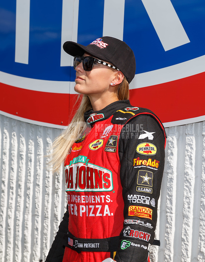 Sep 3, 2016; Clermont, IN, USA; NHRA top fuel driver Leah Pritchett during qualifying for the US Nationals at Lucas Oil Raceway. Mandatory Credit: Mark J. Rebilas-USA TODAY Sports