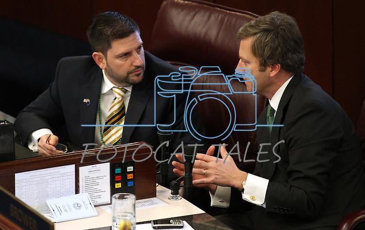 Nevada Senators Mark Manendo, D-Las Vegas, and Greg Brower, R-Reno, talk on the Senate floor at the Legislature in Carson City, Nev., on Thursday, March 17, 2011..Photo by Cathleen Allison