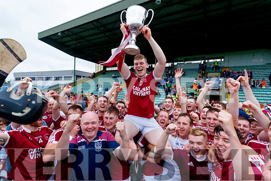 Moires Delaney Causeway captain lifts the cup after his side won the Kerry County Hurling final between Causeway and Lixnaw at Austin Stack park on Sunday