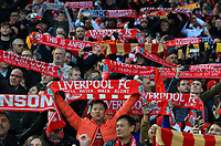"""27th October 2019; Anfield, Liverpool, Merseyside, England; English Premier League Football, Liverpool versus Tottenham Hotspur; Liverpool fans in the main stand hold their scarves aloft as they sing """"You'll Never Walk Alone"""" - Strictly Editorial Use Only. No use with unauthorized audio, video, data, fixture lists, club/league logos or 'live' services. Online in-match use limited to 120 images, no video emulation. No use in betting, games or single club/league/player publications"""