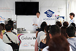 Head pastry chef Hiroyuki Emori speaks to the audience how to make a gelato ice cream during the Gelato World Tour on September 5, 2015, Tokyo, Japan. Over 3 days visitors to the Tokyo event can taste 16 flavours of gelato and will chose the top three flavours to represent the Far East Asia region at the Grand Finale of Gelato World Tour 2.0 to be held in Rimini, Italy in 2017. (Photo by Rodrigo Reyes Marin/AFLO)