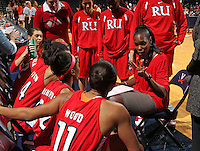 Dec. 6, 2010; Charlottesville, VA, USA; Radford Highlands head coach Denise Dillion talks with her team during the game against the Virginia Cavaliers at the John Paul Jones Arena.  Mandatory Credit: Andrew Shurtleff