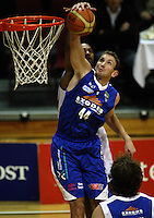 Saints centre Nick Horvath beats Michael Harrison to a rebound during the NBL match between the Wellington Saints and Nelson Giants at TSB Bank Arena, Wellington, New Zealand on Friday, 21 May 2010. Photo: Dave Lintott / lintottphoto.co.nz