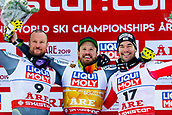 9th February 2019, ARE, Sweden; Aksel Lund Svindal, Kjetil Jansrud of Norway and Vincent Kriechmayr of Austria celebrates after the mens downhill during the FIS Alpine World Ski Championships on February 9, 2019 in Are.