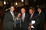 WNBC-4's DeMarco Morgan, Coney Island Prep Math, Science and Special Education Teacher Ashley Williams, Honoree and Tuskegee Airmen Dr. Roscoe Brown, Jr. and ACLU Direct Marketing Coordinator Fabrice Armand   attend the HISTORIC CELEBRATIONS GALA AND DANCE, a benefit saluting the anniversaries of HARLEM WEEK, New York City Marathon and WBLS-FM at the Great Hall of The City College of New York at 138th Street on Convent Avenue, New York