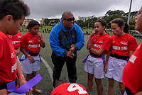 Poverty Bay coach Duane Hihi with his team during the final against North Harbour. Day two of the 2017 Air NZ Rippa Rugby Championship at Wakefield Park in Wellington, New Zealand on Tuesday, 19 September 2017. Photo: Dave Lintott / lintottphoto.co.nz