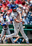 1 August 2018: New York Mets infielder Amed Rosario singles in the 3rd inning against the Washington Nationals at Nationals Park in Washington, DC. The Nationals defeated the Mets 5-3 to sweep the 2-game weekday series. Mandatory Credit: Ed Wolfstein Photo *** RAW (NEF) Image File Available ***