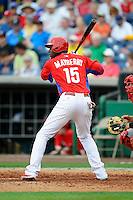 Philadelphia Phillies outfielder John Mayberry Jr #15 during a Spring Training game against the Boston Red Sox at Bright House Field on March 24, 2013 in Clearwater, Florida.  Boston defeated Philadelphia 7-6.  (Mike Janes/Four Seam Images)