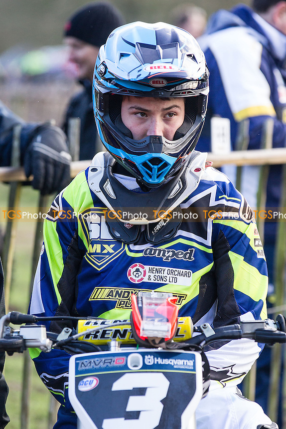 Josh Gilbert, St Blazey MX Husqvarna prior to the opening practice session during the Be Wiser Hawkstone International MX 2016