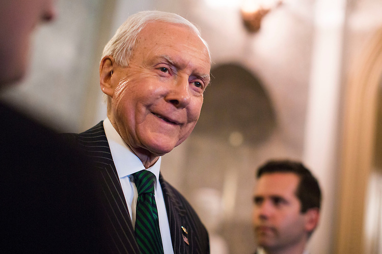 UNITED STATES - MARCH 17 - Sen. Orrin Hatch, R-Utah, speaks with reporters on Capitol Hill in Washington, Thursday, March 17, 2016. (Photo By Al Drago/CQ Roll Call)