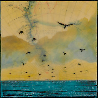 mixed media photo encaustic with antique map and birds flying over green ocean.