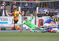 Jack Leighfield blocks the shot from Lewis Mansell in the SPFL Ladbrokes Championship football match between Queen of the South and Partick Thistle at Palmerston Park, Dumfries on  4.5.19.