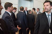 Innenminister Horst Seehofer, CSU, nach waehrend einer ausserordentlichen Sitzung der CDU/CSU-Fraktion nachdem es zwischen der CDU und der CSU zum Streit ueber den Umgang mit Fluechtlingen gab. Die Sitzung des Deutschen Bundestag wurde aufgrund dieses Streit auf Antrag der CDU/CSU-Fraktion fuer mehrere Stunden unterbrochen. Die Fraktionen von CDU und CSU tagten getrennt.<br /> Rechts vom Fahrstuhl, Bundesverkehrsminister Andreas Scheuer, CSU.<br /> 14.6.2018, Berlin<br /> Copyright: Christian-Ditsch.de<br /> [Inhaltsveraendernde Manipulation des Fotos nur nach ausdruecklicher Genehmigung des Fotografen. Vereinbarungen ueber Abtretung von Persoenlichkeitsrechten/Model Release der abgebildeten Person/Personen liegen nicht vor. NO MODEL RELEASE! Nur fuer Redaktionelle Zwecke. Don't publish without copyright Christian-Ditsch.de, Veroeffentlichung nur mit Fotografennennung, sowie gegen Honorar, MwSt. und Beleg. Konto: I N G - D i B a, IBAN DE58500105175400192269, BIC INGDDEFFXXX, Kontakt: post@christian-ditsch.de<br /> Bei der Bearbeitung der Dateiinformationen darf die Urheberkennzeichnung in den EXIF- und  IPTC-Daten nicht entfernt werden, diese sind in digitalen Medien nach &szlig;95c UrhG rechtlich geschuetzt. Der Urhebervermerk wird gemaess &szlig;13 UrhG verlangt.]