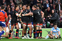Nathan Hughes of England is congratulated on his first half try. Old Mutual Wealth Series International match between England and Argentina on November 11, 2017 at Twickenham Stadium in London, England. Photo by: Patrick Khachfe / Onside Images
