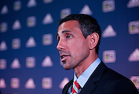 Pablo Mastroeni of the Colorado Rapids talks to the media during the MLS SuperDraft at the Pennsylvania Convention Center in Philadelphia, PA, on January 16, 2014.