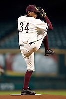 Arizona State's Brian Flores (34) winds up to deliver a pitch versus Texas A&M at the 2007 Houston College Classic at Minute Maid Park in Houston, TX, Friday, February 9, 2007.  Arizona State defeated Texas A&M 5-4.