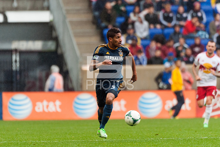 Sean Franklin (5) of the Los Angeles Galaxy. The New York Red Bulls defeated the Los Angeles Galaxy 1-0 during a Major League Soccer (MLS) match at Red Bull Arena in Harrison, NJ, on May 19, 2013.