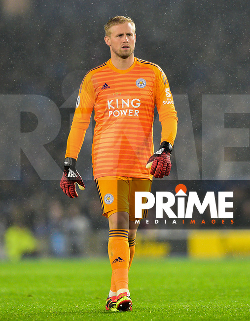 Kasper Schmeichel Goalkeeper of Leicester City (1) during the Premier League match between Brighton and Hove Albion and Leicester City at the American Express Community Stadium, Brighton and Hove, England on 24 November 2018. Photo by Edward Thomas / PRiME Media Images.