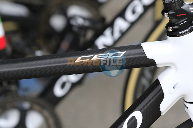 Wiggle High5 team Colnago C60s lined up at team bus sign on before the start of the Ladies 2017 Strade Bianche running 127km from Siena to Siena, Tuscany, Italy 4th March 2017.<br /> Picture: Eoin Clarke   Newsfile<br /> <br /> <br /> All photos usage must carry mandatory copyright credit (&copy; Newsfile   Eoin Clarke)