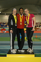 Photo: Tony Oudot/Richard Lane Photography. Aviva World Trials & UK Championships. 14/02/2010. .Womens 200m. .L to R : Katherine Endacott (silver), Joice Maduaka (gold) and Niamh Whelan (bronze).