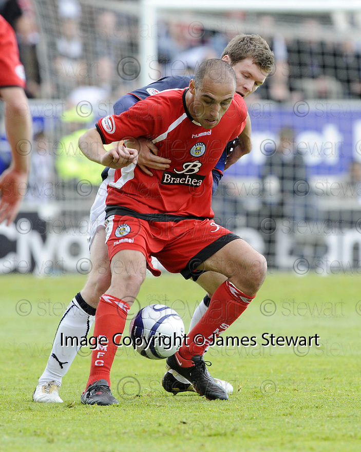 16/05/2009  Copyright  Pic : James Stewart.sct_jspa_04_falkirk_v_st_mirren.BILLY MEHMET HOLDS OFF DARREN BARR.James Stewart Photography 19 Carronlea Drive, Falkirk. FK2 8DN      Vat Reg No. 607 6932 25.Telephone      : +44 (0)1324 570291 .Mobile              : +44 (0)7721 416997.E-mail  :  jim@jspa.co.uk.If you require further information then contact Jim Stewart on any of the numbers above.........