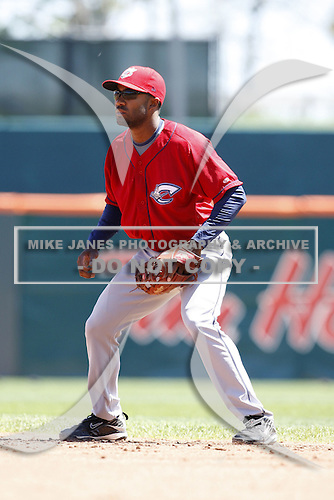 May 21, 2009:  Second Baseman Josh Barfield of the Columbus Clippers, International League Triple-A affiliate of the Cleveland Indians, during a game at Coca-Cola Field in Buffalo, NY.  Photo by:  Mike Janes/Four Seam Images
