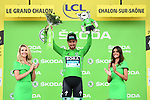 Peter Sagan (SVK) Bora-Hansgrohe retains the points Green Jersey at the end of Stage 7 of the 2019 Tour de France running 230km from Belfort to Chalon-sur-Saone, France. 12th July 2019.<br /> Picture: ASO/Alex Broadway | Cyclefile<br /> All photos usage must carry mandatory copyright credit (© Cyclefile | ASO/Alex Broadway)