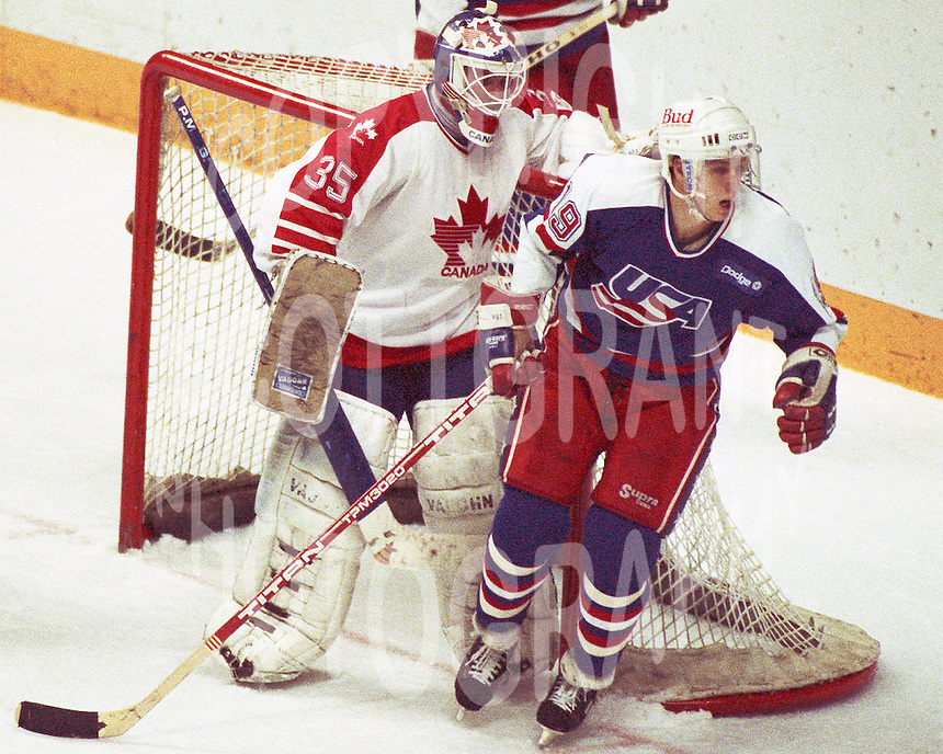 Andy Moog Team Canada 1987. Photo copyright F. Scott Grant
