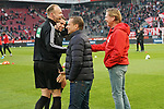 30.11.2019, RheinEnergieStadion, Koeln, GER, 1. FBL, 1.FC Koeln vs. FC Augsburg,<br />  <br /> DFL regulations prohibit any use of photographs as image sequences and/or quasi-video<br /> <br /> im Bild / picture shows: <br /> Markus Gisdol Trainer, Headcoach (1.FC Koeln), gegruesst Schiedsrichter / referee Tobias Stieler (SR) und Dr. Matthias Jöllenbeck (SR-A. 1)<br /> <br /> Foto © nordphoto / Meuter