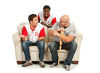 Isolated on white, extensive series of sports fans, male and female, watching and celebrating American baseball