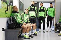(L-R) Jake Bidwell, Tom Carroll, George Byers, Matt Grimes and Kristoffer Peterson of Swansea City during the Swansea City Training Session at The Fairwood Training Ground in Swansea, Wales, UK. Wednesday 16 October 2019