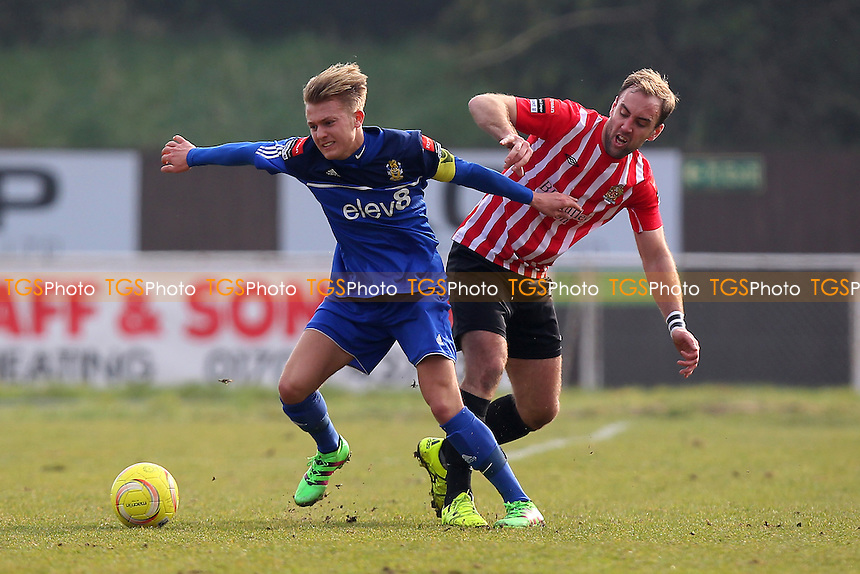 Elliot Styles of Hornchurch and Liam Nash of Aveley during AFC Hornchurch vs Aveley, Ryman League Divison 1 North Football at Hornchurch Stadium on 12th March 2016