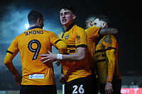 Robbie Willmott of Newport County (right) celebrates scoring the opening goal during the FA Cup Fourth Round Replay match between Newport County and Middlesbrough at Rodney Parade in Newport, Wales, UK. Tuesday 05 February 2019