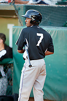 Cristopher Navarro (7) of the Grand Junction Rockies on deck against the Ogden Raptors at Lindquist Field on June 25, 2018 in Ogden, Utah. The Raptors defeated the Rockies 5-3. (Stephen Smith/Four Seam Images)