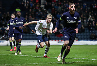 Preston North End's Jayden Stockley attacks a cross<br /> <br /> Photographer Andrew Kearns/CameraSport<br /> <br /> The EFL Sky Bet Championship - Preston North End v Derby County - Friday 1st February 2019 - Deepdale Stadium - Preston<br /> <br /> World Copyright © 2019 CameraSport. All rights reserved. 43 Linden Ave. Countesthorpe. Leicester. England. LE8 5PG - Tel: +44 (0) 116 277 4147 - admin@camerasport.com - www.camerasport.com