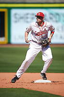 Ball State Cardinals Justin Kirkpatrick (8) during practice before a game against the Louisville Cardinals on February 19, 2017 at Spectrum Field in Clearwater, Florida.  Louisville defeated Ball State 10-4.  (Mike Janes/Four Seam Images)