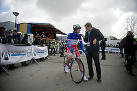 Arnaud Démare (FRA/FDJ.fr) interviewed at the start<br /> <br /> 3 Days of De Panne 2015