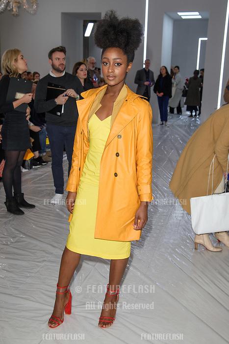 Simona Brown at the Jasper Conran show as part of London Fashion Week, London, UK. <br /> 17 February  2018<br /> Picture: Steve Vas/Featureflash/SilverHub 0208 004 5359 sales@silverhubmedia.com