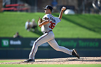 Starting pitcher Keith Weisenberg (36) of the Rome Braves delivers a pitch in Game 1 of a doubleheader against the Greenville Drive on Friday, August 3, 2018, at Fluor Field at the West End in Greenville, South Carolina. Rome won, 7-6. (Tom Priddy/Four Seam Images)