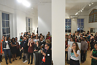 Guests listening to one of the speakers at a reception at Ramscale Studio in The West Village.