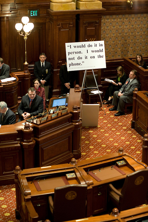 Quotes from the wiretaps of Gov. Rod Blagojevich are displayed during the second day of Blagojevich's Senate impeachment trial at the Illinois State Capitol in Springfield, Ill., on Jan. 27, 2009. Blagojevich came only to the very end of his four-day trial, to deliver his closing arguments..Kristen Schmid Schurter