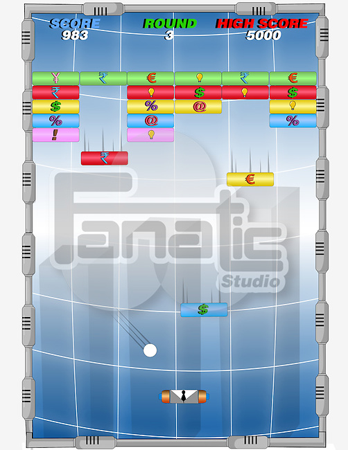 Conceptual shot of Arkanoid game representing global finance