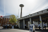 Seattle, WA - Sunday, April 17, 2016: The Seattle Space Needle overlooks the main entrance at Memorial Stadium. Sky Blue FC defeated the Seattle Reign FC 2-1during a National Women's Soccer League (NWSL) match at Memorial Stadium.