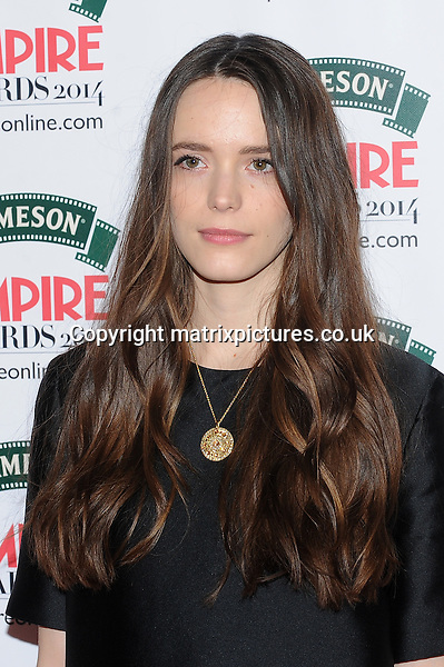 NON EXCLUSIVE PICTURE: PAUL TREADWAY / MATRIXPICTURES.CO.UK<br /> PLEASE CREDIT ALL USES<br /> <br /> WORLD RIGHTS<br /> <br /> Franco-English actress Stacy Martin is pictured attending the Jameson Empire Awards 2014 at the Grosvenor House Hotel in London, England.<br /> <br /> MARCH 30th 2014<br /> <br /> REF: PTY 141590